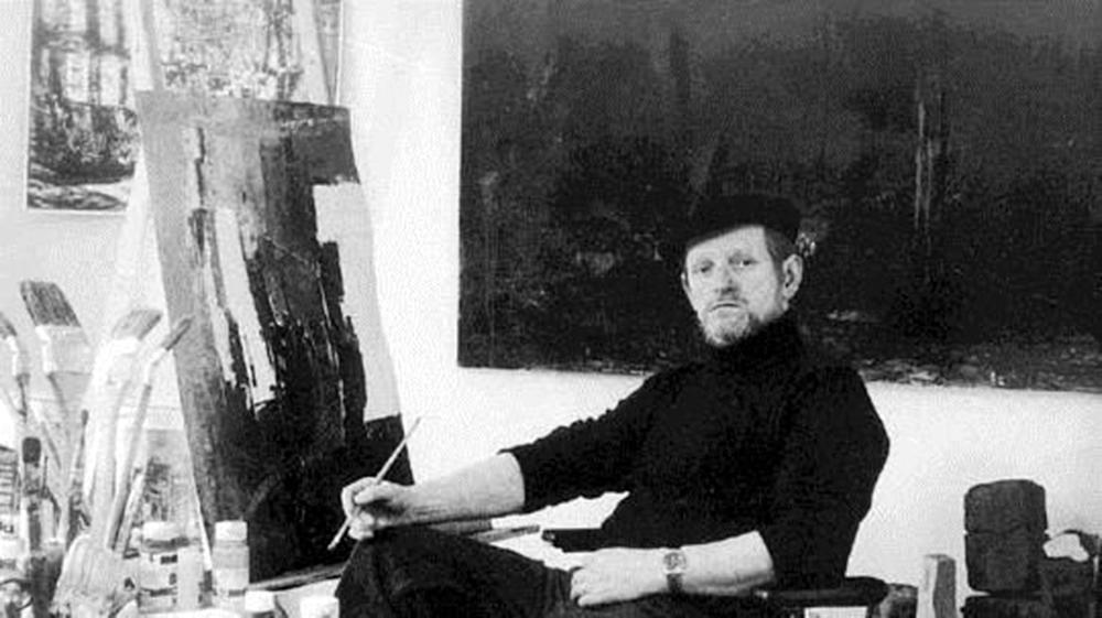 Selbstbildnis im Atelier um 1990