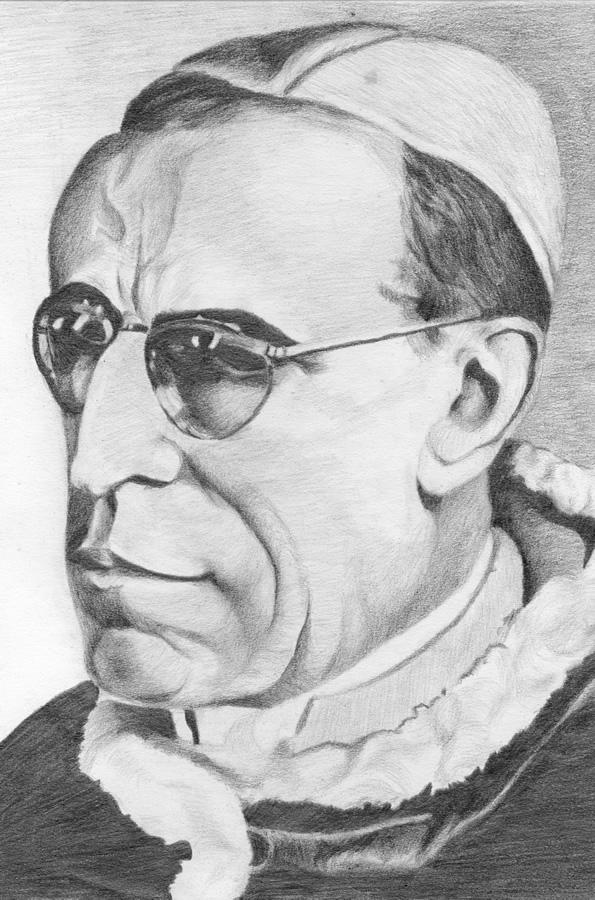 Papst Pius XII, Bleistiftzeichnung 1950