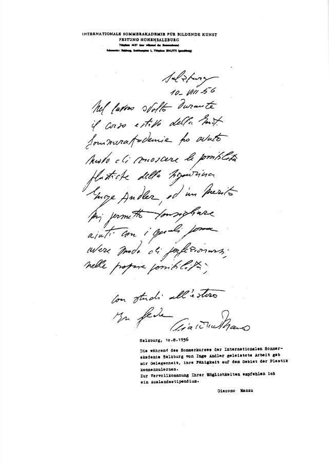 Handschriftliche Empfehlung von Giacomo Manzu - Sommerakademie Bildende Kunst, 1956