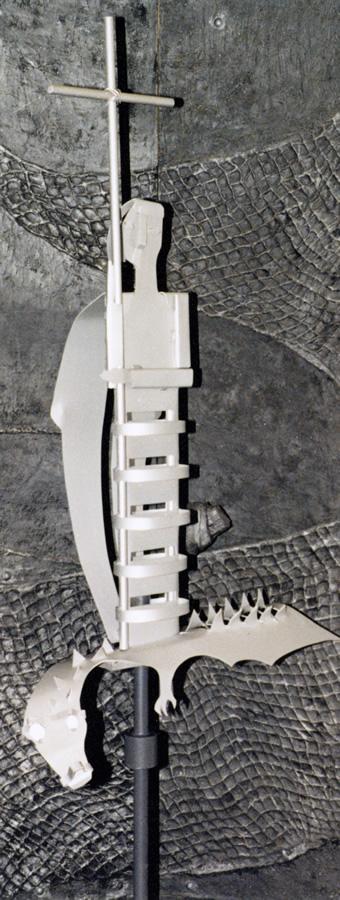 Kirche St. Michael Völklingen, Turmfigur, Material Eloxiertes Aluminium, Höhe 1,6 m
