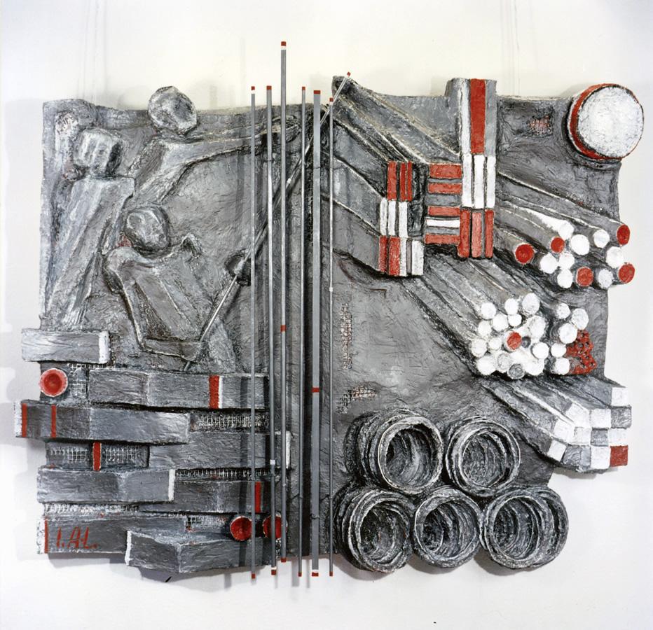 Beim Stahlhändler, Steinguss mit Eisendraht