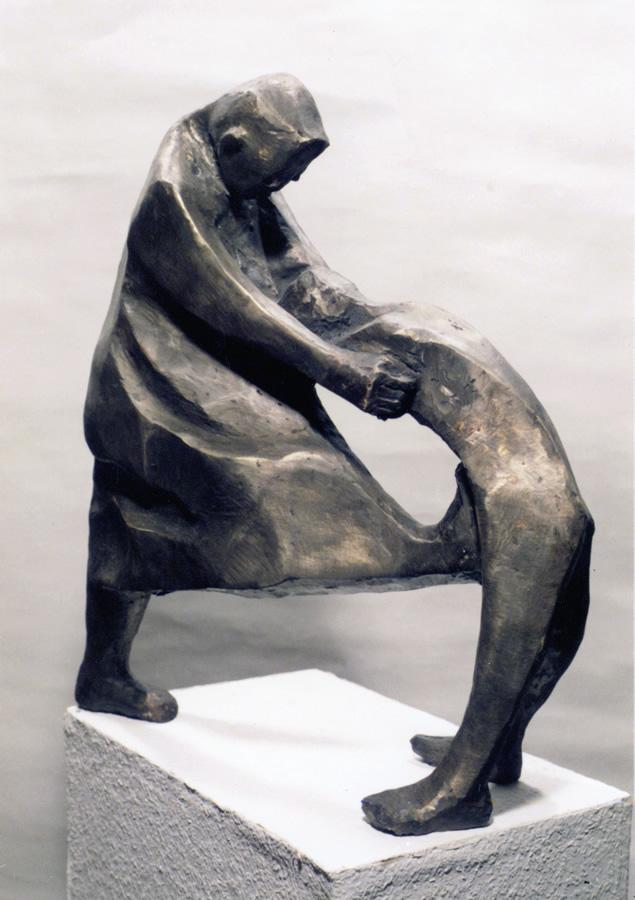 Kämpfer, Bronzeguss, Höhe 40 cm, Unikat