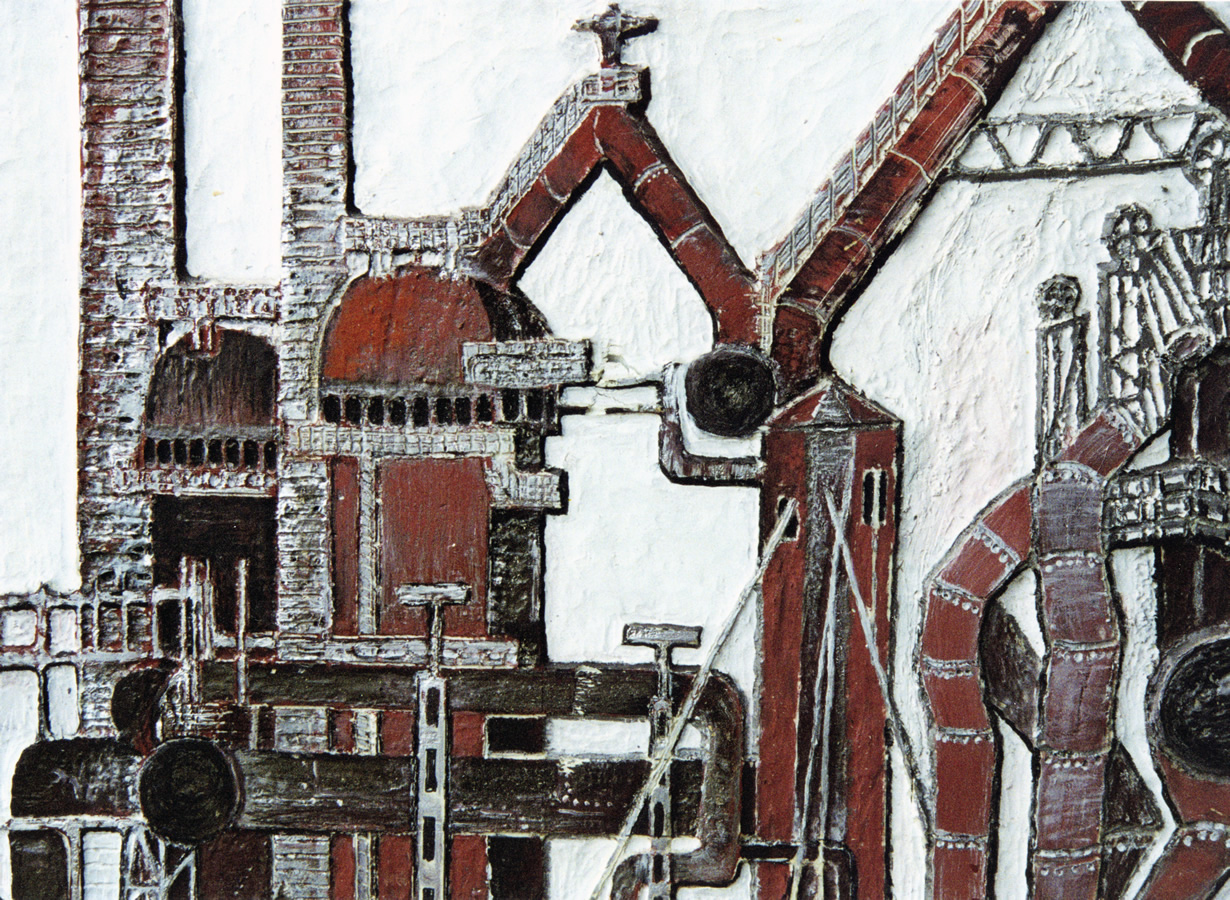 Hochofengruppe, Linolschnitt, Höhe 80 cm, Breite 60 cm