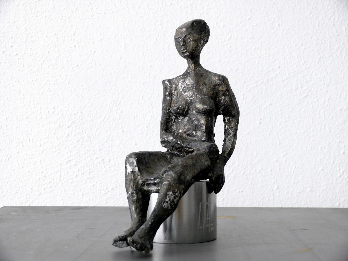 Inspiration, Zinnguss mit Silberauflage, Höhe 24 cm
