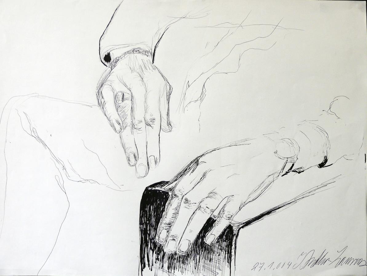 Peters Hände, Tuschezeichnung