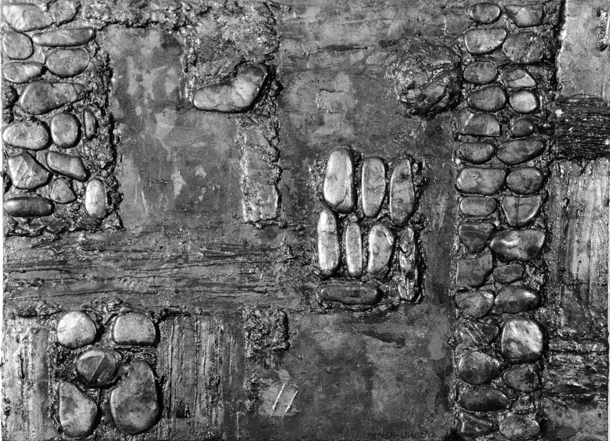 Steinrelief, Steine, Spachtel, Farbe und Blattsilber, Höhe 70 cm. Breite 50 cm